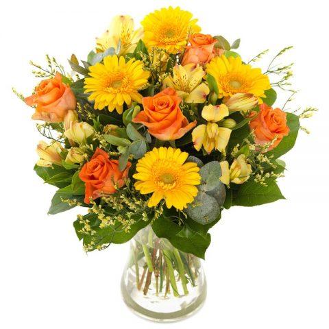 Zomerse bloemen boeket groot