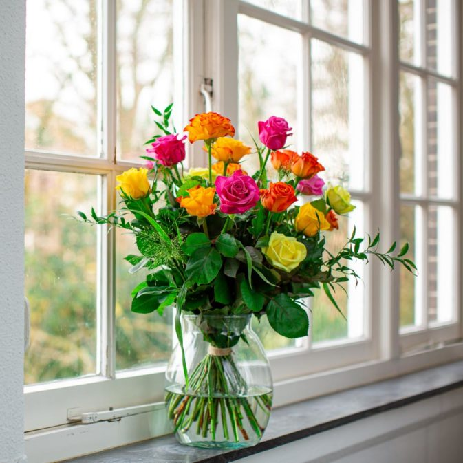 gekleurde rozen in het raam romanticus