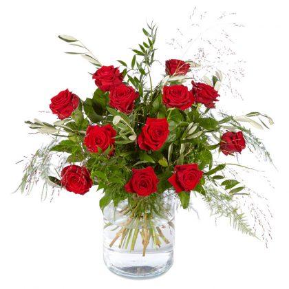 Rode rozen boeket modern groot